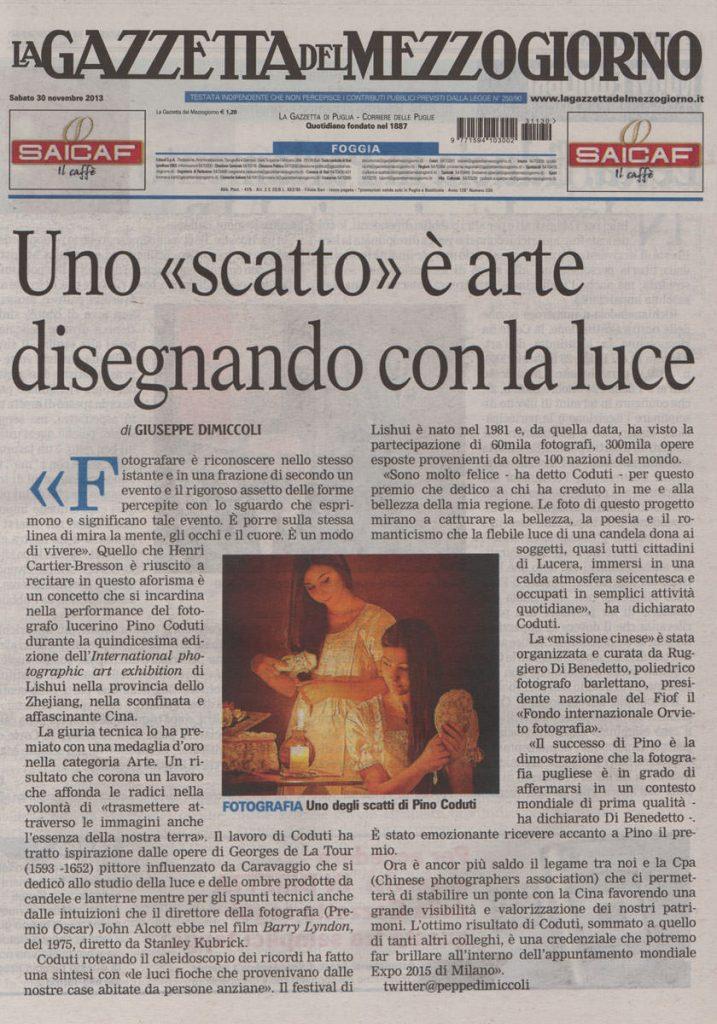 Gazzetta del Mezzogiorno articolo Pino Coduti fotografo